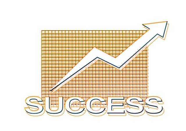 úspěch znázorněný rostoucím grafem na čtverečkovaném pozadí